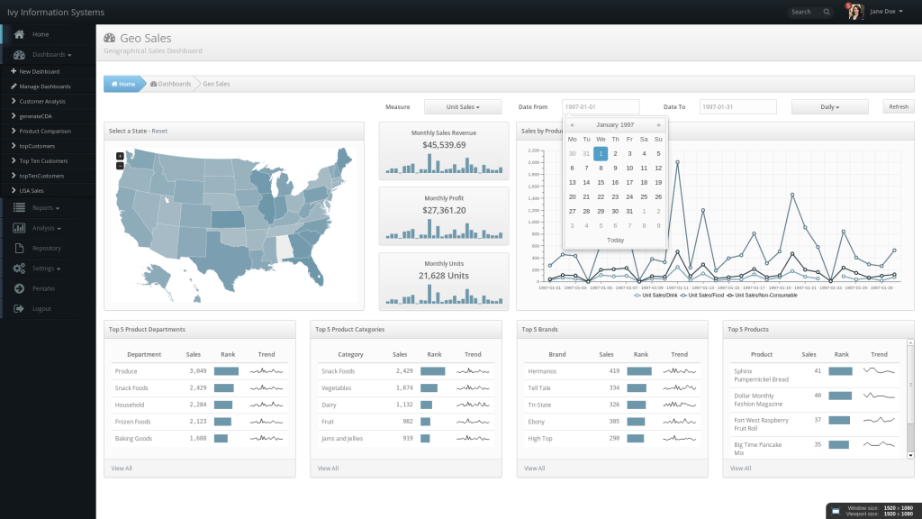 ivyDemo USA Sales Dashboard